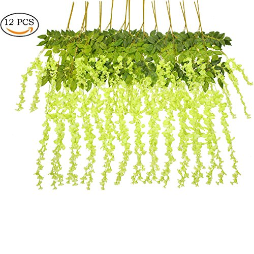 1d026f356fe Maefant 12 Pack 3.6 Feet/Piece Artificial Fake Wisteria Vine Ratta Hanging  Garland Silk Flowers String Home Party Wedding Decor (Green)
