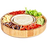 Rotating Appetizer Serving Platter - Taco Tray with Detachable Ceramic Dish - Lazy Susan ?hip and Dip Relish Dish - Bamboo Wood