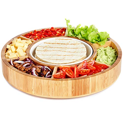 (Rotating Appetizer Serving Platter - Taco Tray with Detachable Ceramic Dish - Lazy Susan Сhip and Dip Relish Dish - Bamboo Wood )