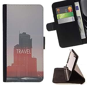King Case - FOR LG OPTIMUS L90 - i like travel - Prima caja de la PU billetera de cuero con ranuras para tarjetas, efectivo Compartimiento desmontable y correa para la mu?eca