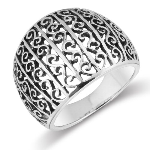 Sterling Silver Vintage Style Bali Swirl Filigree Scroll Domed Ring - Size 11 -