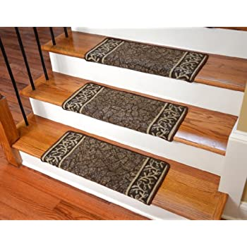 dean modern diy bullnose wraparound non skid carpet stair treads garden path brown - Bullnose Stair Tread
