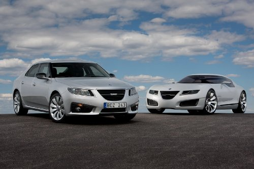 saab-9-5-2010-car-art-poster-print-on-10-mil-archival-satin-paper-silver-white-duo-view-36x24