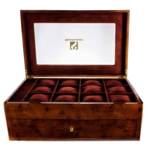 Steinhausen TM319GA Executive Large Wooden Golden Burlwood Luxury Jewelry Watch Case (Burlwood Tray Dark)