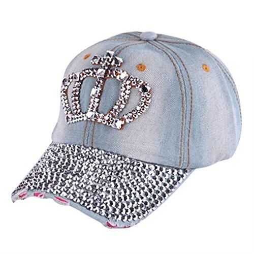(Meiyuan Women Shiny Rhinestone Crown Cross Denim Hats Snapback Baseball)