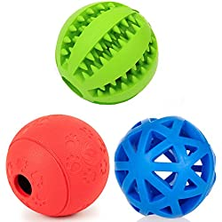 PetFavorites Treat Dispensing Dog Toy IQ Balls - Interactive Chew Toys and Smart Food Puzzle for Boredom, Dental Teething, Slow Down Feeding, 3 Pack.