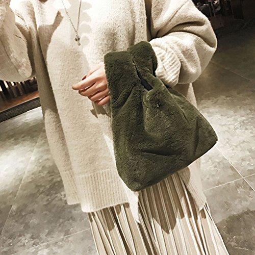 Women Soft Green Chic Fluffy Ultra Clutch Light Tote Handbag Bag Grey Bag Vbiger qdOxHCwq