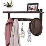 SONGMICS Entryway Coat Rack Shelf, Wall Mounted Hooks with Upper Storage, Hanging Entryway Shelf, Ideal for Living Room Bedroom Bathroom and Kitchen Brown URCR105BR