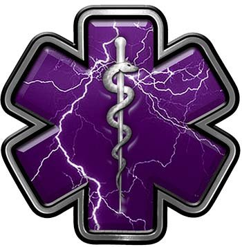 (Interior Wall Design Star of Life Emergency Response EMS EMT Paramedic Decal in Purple Lightning Strike)
