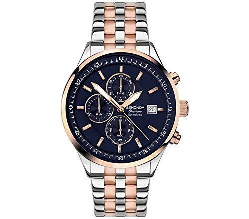 Sekonda Velocity Classique Blue Dial Chronograph Rose Gold 2 Tone Bracelet Gents Watch 1233