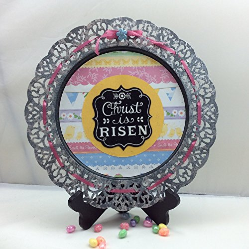 AGO Galvanized Charger Plate Sign - Easter Christ Is Risen #215/31 33