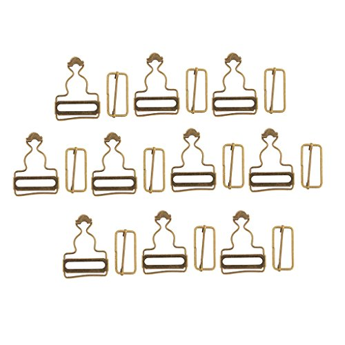 D DOLITY Classic Suspender Adjuster Overall Buckle Metal Dungaree Fastener Braces Buckle Pack of 6 Sets - Bronze