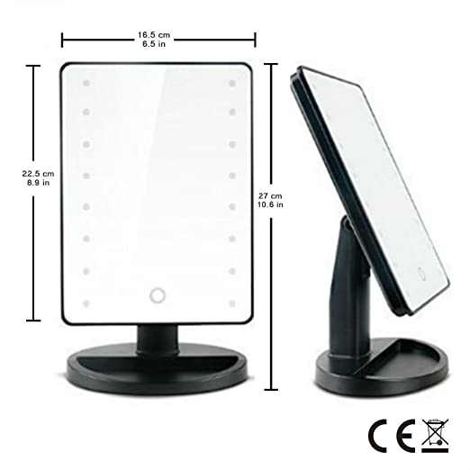 amazoncom 16 led makeup mirror with lights and tray hollywood backstage portable tabletop vanity mirror black beauty