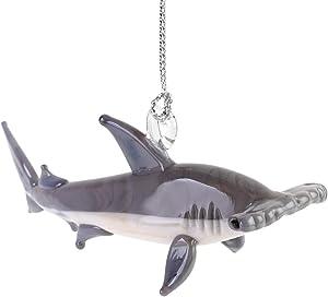 Dynasty Gallery Glass Hammerhead Shark Hanging Standing Figurine Black Eyes Hand Blown