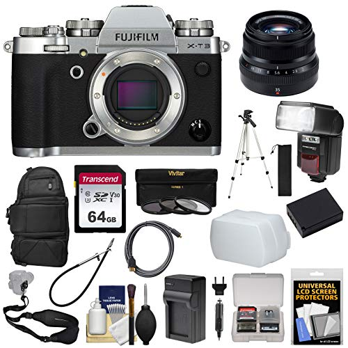 Fujifilm X-T3 4K Wi-Fi Digital Camera Body (Silver) with 35mm f/2.0 XF Lens + Backpack + 64GB Card + Battery & Charger + Tripod + Flash Kit
