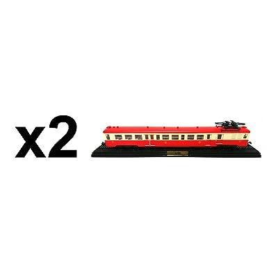 Atlas Lot de 2 trains SNCF Automotrice Z-7100 de1960 HO 1/87 (Réf 1+1)