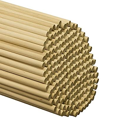"Wooden Dowel Rods - 3/8"" x 12"" Unfinished Hardwood Sticks - For Crafts and DIY'ers - Woodpecker Crafts"