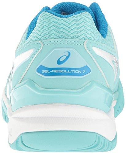 Chaussure Splash Asics blanc de B argent 7 Aqua 10 Diva Bleu pour femmes Resolution Blanc US Gel tennis 686qErw