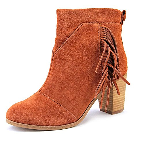 TOMS Women's  Cognac Suede With Fringe Leather Lunata Bootie - 8.5 B(M) US by TOMS