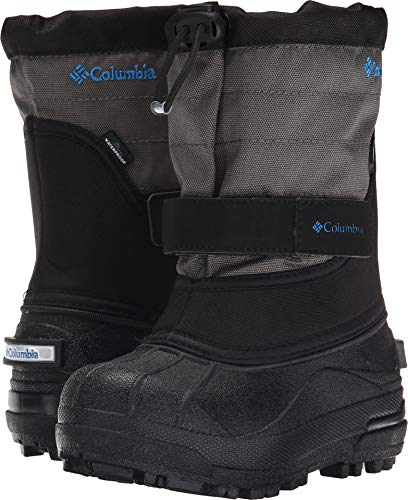 Columbia Youth Powderbug Plus Winter Boot (Little Kid/Big Kid), Black/Hyper Blue, 2 M US Little Kid (Boots Winter Size Boys 2)