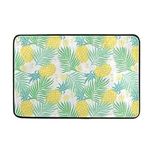 zoeo decoración del hogar antideslizante Watercolor Palm Árbol Hojas piña frutas Felpudo piso Felpudo para interior Outerdoor baño 23,6x 15,7pulgadas