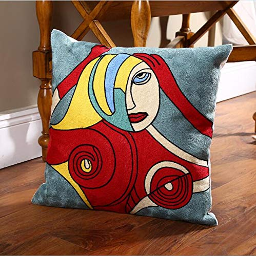 (Cushion Cover | Cotton Picasso Embroidered Cushion Cover Sofa Pillow Cover for Car Chair Cushion Case 45cmx45cm Without Stuffing Homedecor | by EGALIVE)