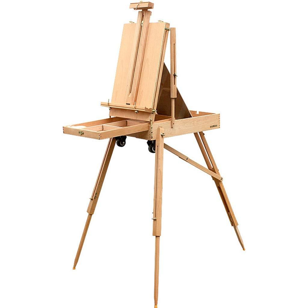 木製のドローバー油絵箱/オイルイーゼル、ホイールアートツールボックス、携帯用絵の具箱   B07P25Q3SR