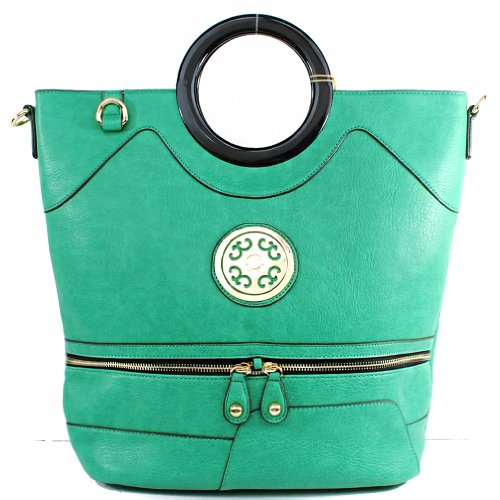 New Arrival Designer Inspired Unique Fashion Exotic Plastic Round Handle Zipper Embellishment Tote Satchel Handbag Official Structured Purse with Adjustable Shoulder Strap in Mint Green, Bags Central