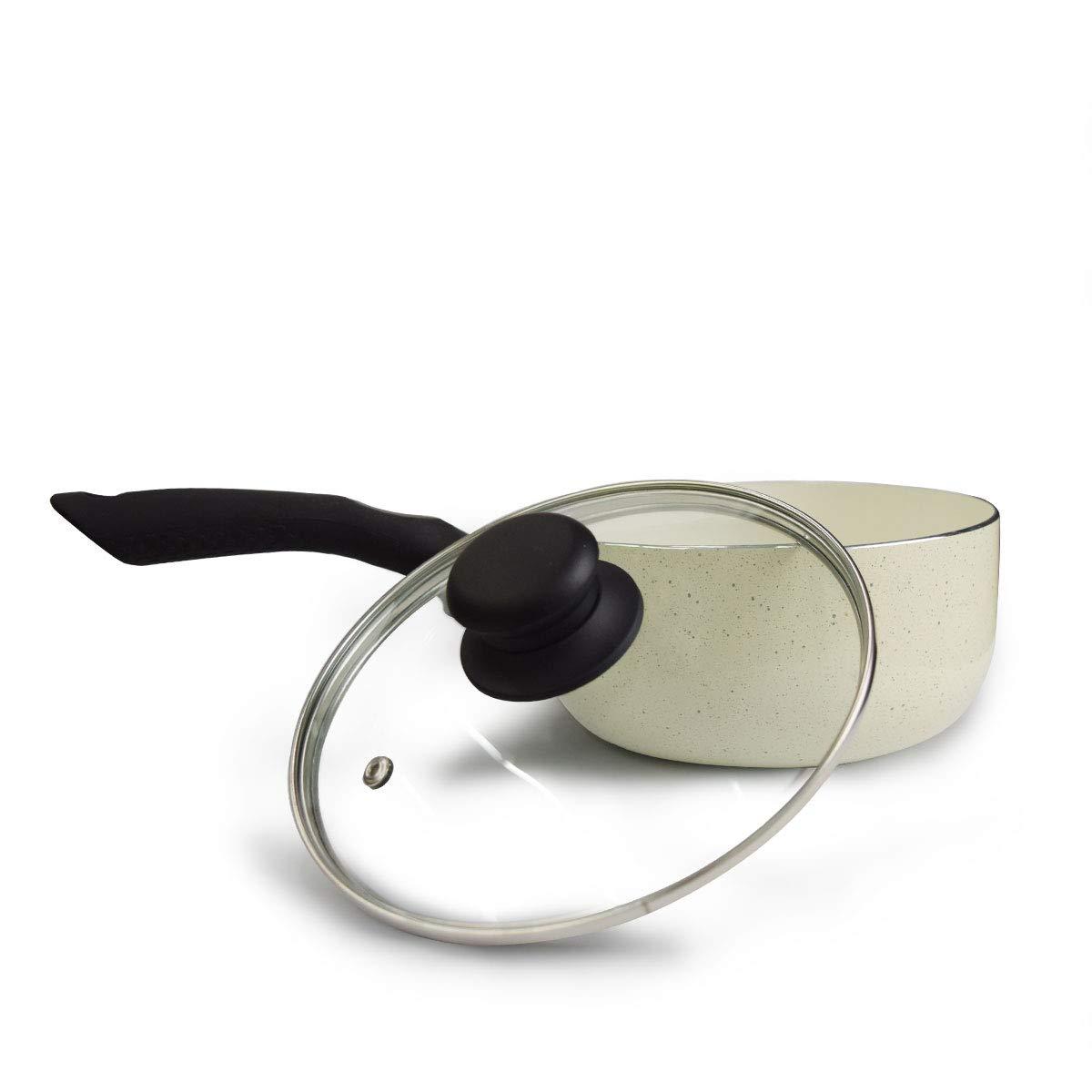 KI 7 Ceramic Non-Stick Saucepan with Glass Lid | PFOA Free Multipurpose Sauce Pot with Ergonomic Handle | 1 Year Warranty