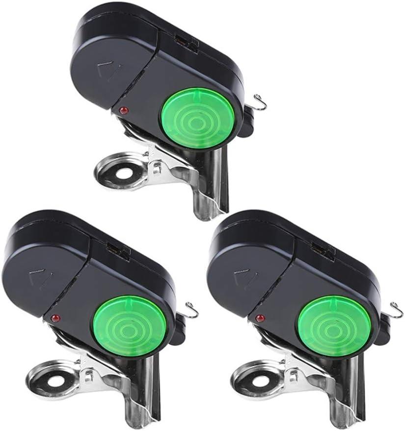 4pcs Black Electronic LED Light Fishing Bite Sound Alarm Alert Bell Clip on Fish for sale online