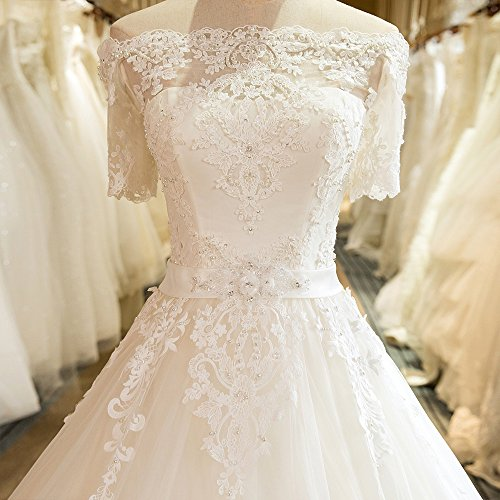 Harsuccting Off Shoulder Lace Appliques Short Sleeve Ball Gown Lace Up Wedding Dress at Amazon Womens Clothing store: