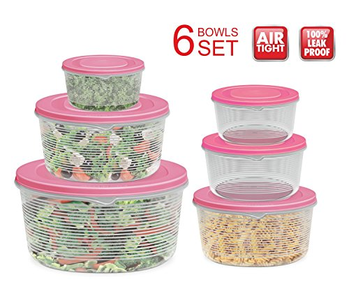 Mixing Bowl Set with Lids; Kitchen Food Storage Containers, Plastic Airtight Nesting Stackable Meal Prep 12 Piece, 6 Bowls & 6 Covers; No Spill Leakproof Lightweight - for Baking, Salad, Picnic - Pink