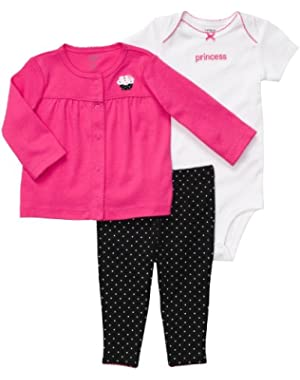 Baby Girl's 3-Piece Cardigan Set