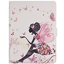 Apple iPad Air 2 iPad 6 Case Funyye Ultra Thin Magnetic Close Detachable Flip Folio Book Style Type Standing With [Fashion Butterfly Angel Fairy] Pattern Premium PU Leather Elegant 3D Bling Sparkle Diamond Soft TPU Bumper Edge Case Cover [with Free Touch Pen]