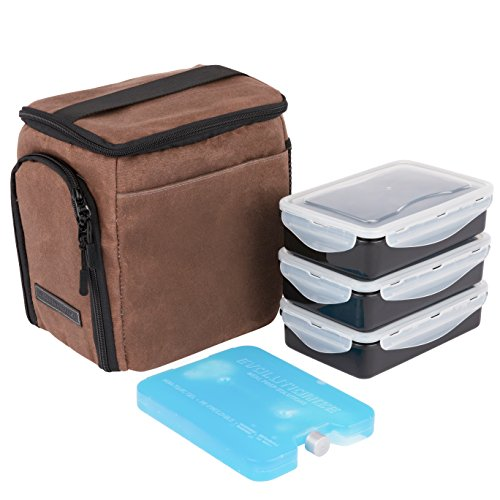 Mini Meal Set (EDC Meal Prep Bag Mini by Evolutionize - Full Meal Management System - Holds 3 Meals - Includes Portion Control Meal Prep Containers + Ice Pack (MINI - 3 Meal, Brown (Waxed Canvas)))