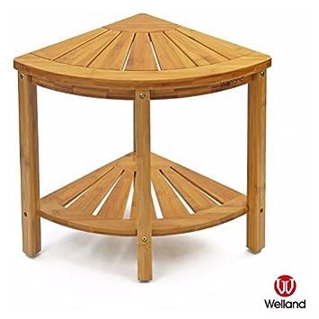 WELLAND Corner Shower Bench With Storage Shelf, Bamboo Shower Stool,  15.75 Inch X