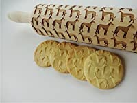 GREYHOUND pattern Embossing Rolling Pin. Whippet Dog pattern. Engraved rolling pin with Greyhound dog breed for embossed cookies or pasta.
