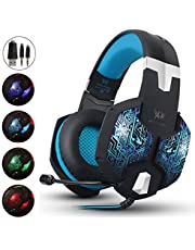 AIZBO Gaming Headset, 3.5mm Over-Ear Headband Headphones LED Lighting Game Headset with Mic for PC Computer Game With Noise Cancelling & Volume