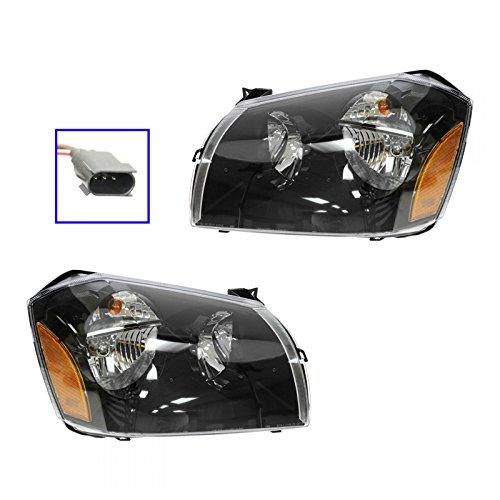Headlights Headlamps w/ Black Bezel Left & Right Pair Set for 05-07 Dodge Magnum