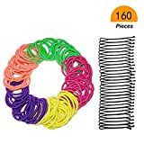 Muhuyi 160 Pcs Girls No-metal Assorted Color Ouchless Elastic Hair Ties with Black Bobby Pin