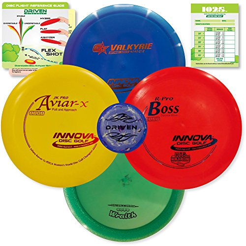 Innova Disc Golf Championship Set | 4 World Record Breaking Discs in PREMIUM Plastics - Includes 1025 Putting Game - Flight Reference Card - Driven Mini Marker | Disc Colors Vary by Driven Disc Golf