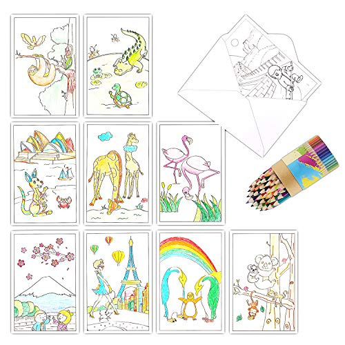 Blank Note Cards with Envelopes, 36 Coloring Greeting Cards for Kids and Adults to DIY Personalized Birthday Cards, Thank You Cards, Bulk Box Set, 4 x 6 Inches, Postcard Style, -
