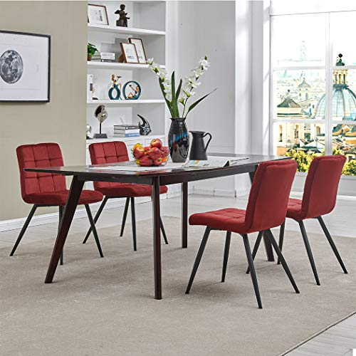 Dining Chair Accent Chair Set of 4 for Living Room, Side Chair Guest Chair Velvet Fabric Ergonomic Padded Seat Indoor Coffee Shop (Red)