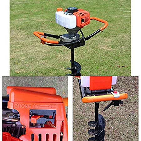 52CC Gas Powered Post Hole Digger Earth Auger Borer,Full Crankshaft Engine,3Drill Bit Extension Bar 4 6 8 Auger for Earth Burrowing//Drilling /& Post Hole Digging 2.3HP