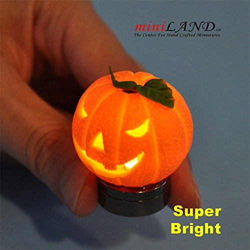 Halloween Pumpkin bright battery LED LAMP on/off switch hop14 for dollhouse miniature 1:12 scale