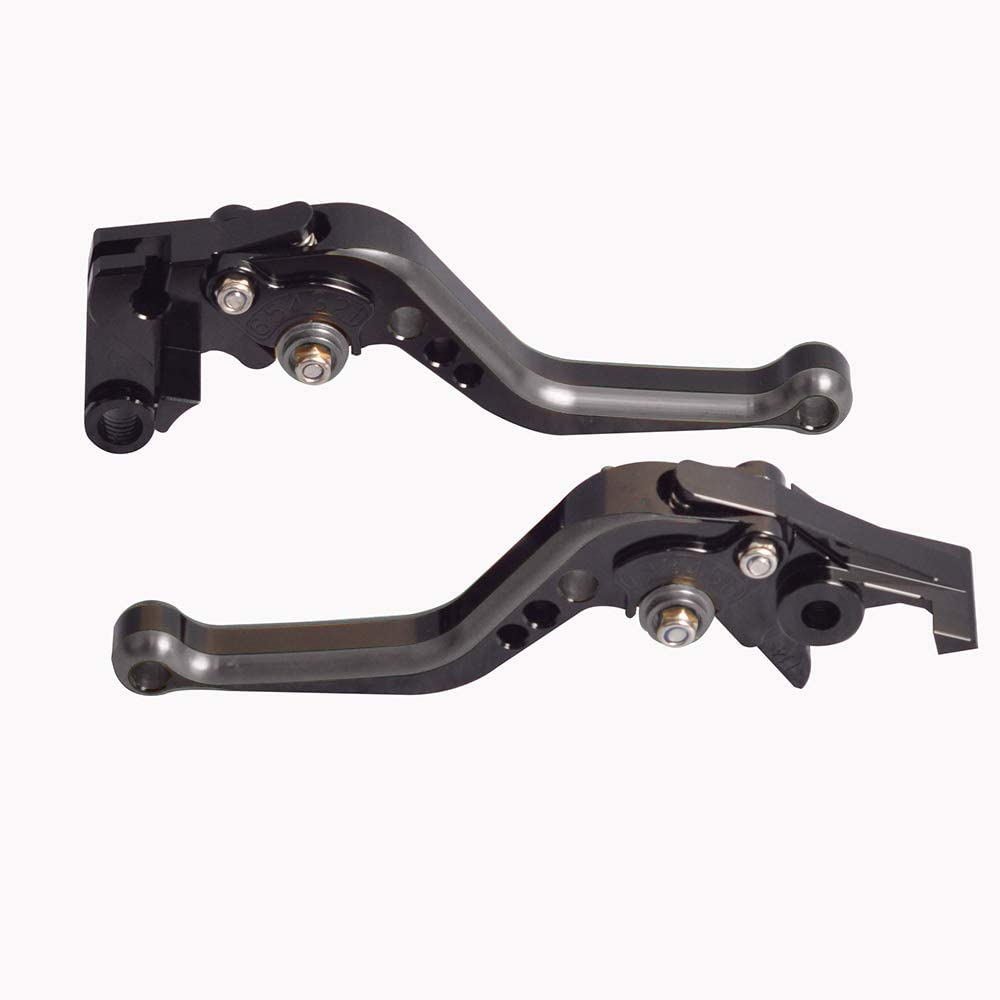 WildBee Double Colors Black Grey Short Adjustable Motorcycle Brake and Clutch Levers Set Compatible for ZX6R//636 2007-2018 Z1000 2007-2016 ZX10R 2006-2015