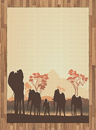 Africa Area Rug by Ambesonne, African Wildlife Safari Big Animal Elephants in Forest with Lake Nature Scenes, Flat Woven Accent Rug for Living Room Bedroom Dining Room, 5.2 x 7.5 FT, Brown and White by Ambesonne