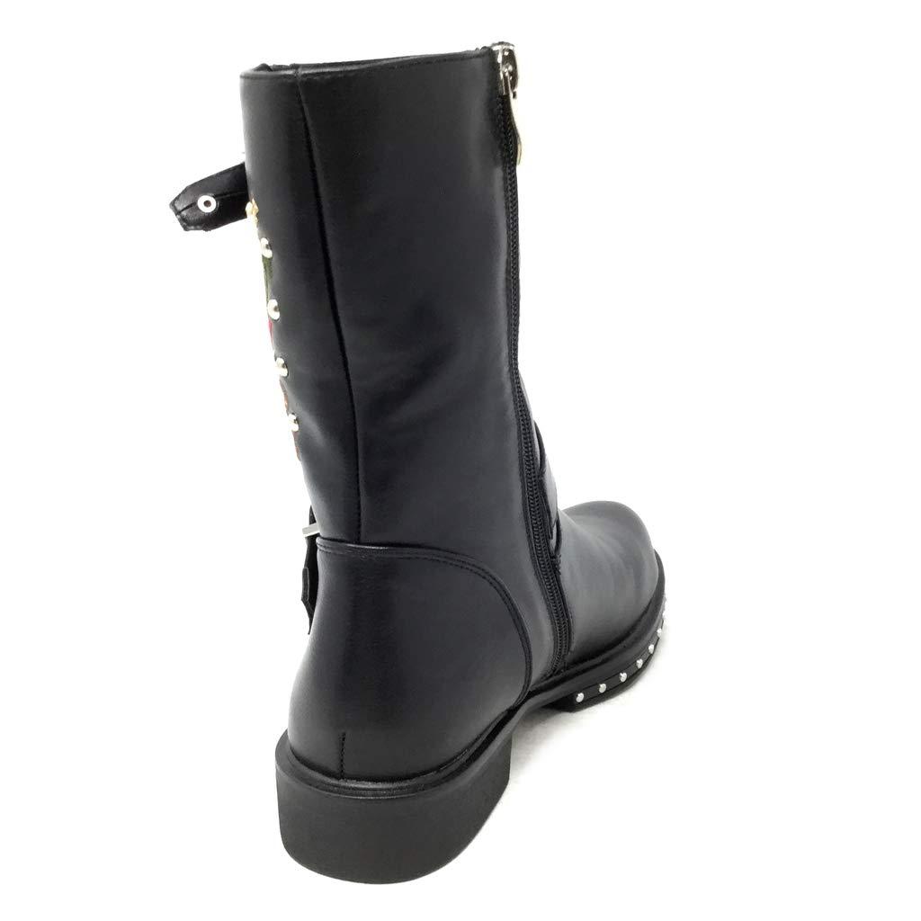 Angkorly - Damen Schuhe Stiefeletten Stiefel - Biker - - - Glam Rock - Sticken - Nieten-Besetzt - String Tanga Blockabsatz 3 cm 03a975