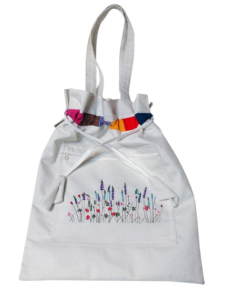 Embroidery Flower White Drawstring Canvas Tote Shoulder Book Grocery Shopping Eco Diaper Beach Laptop Bag Bookbag