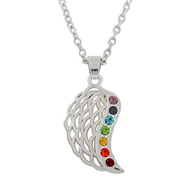 Amazon com: Religious Multicolor Crystal Enameled Angle Wing